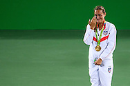 Monica Puig of Puerto Rico wins the Gold Medal in the Women's Tennis Singles on day eight of the XXXI 2016 Olympic Summer Games in Rio de Janeiro, Brazil.<br /> Picture by EXPA Pictures/Focus Images Ltd 07814482222<br /> 13/08/2016<br /> *** UK & IRELAND ONLY ***<br /> <br /> EXPA-EIB-160814-0024.jpg