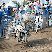 Last part of the rodeo is the impressive bull riding. Here, clowns and assistants watch expectantly as the cowboy is about to be ejected.