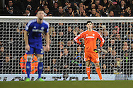 Thibaut Courtois of Chelsea looks on after his team concede a fifth goal during the Barclays Premier League match between Tottenham Hotspur and Chelsea  at White Hart Lane, London<br /> Picture by Richard Blaxall/Focus Images Ltd +44 7853 364624<br /> 01/01/2015