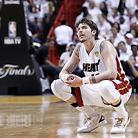 21 June 2012: `Miami Heat shooting guard Mike Miller (13) rests during the second quarter of Game 5 of the 2012 NBA Finals, at the AmericanAirlinesArena, Miami, Florida, USA.