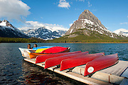 Canoes at Many Glacier Lodge, Glacier National Park, Montana