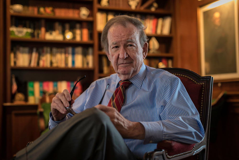 MCLEAN, VA -- 3/21/17 -- Respected conservative commentator Pat Buchanan reflects on his career at his home in McLean. .…by André Chung #_AC12526