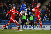 Chesterfield FC forward Sylvan Ebanks-Blake challenges for the ball in the air during the The FA Cup match between Chesterfield and Walsall at the Proact stadium, Chesterfield, England on 5 December 2015. Photo by Aaron Lupton.