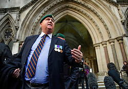 © Licensed to London News Pictures. 16/12/2016. London, UK. A former Royal Marine Mr Hunt vents his anger outside court following an adjournment of the bail hearing for Sgt Alexander Blackman, who is currently serving a life sentence after being convicted of murdering a wounded Taliban fighter in Afghanistan in 2011. Photo credit: Ben Cawthra/LNP