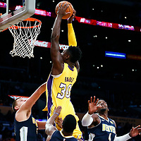 02 October 2017: Los Angeles Lakers forward Julius Randle (30) goes for the dunk during the Denver Nuggets 113-107 victory over the LA Lakers, at the Staples Center, Los Angeles, California, USA.