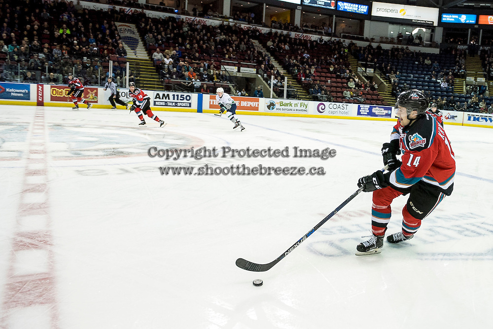 KELOWNA, CANADA - DECEMBER 7: Dillon Dube #19 looks for the pass from Jake Kryski #14 of the Kelowna Rockets as he skates with the puck against the Seattle Thunderbirds on December 7, 2016 at Prospera Place in Kelowna, British Columbia, Canada.  (Photo by Marissa Baecker/Shoot the Breeze)  *** Local Caption ***