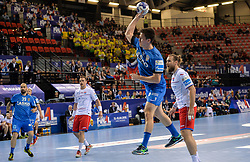 David Razgor of Celje PL during handball match between Meshkov Brest and RK Celje Pivovarna Lasko in bronze medal match of SEHA- Gazprom League Final 4, on April 15, 2018 in Skopje, Macedonia. Photo by  Sportida