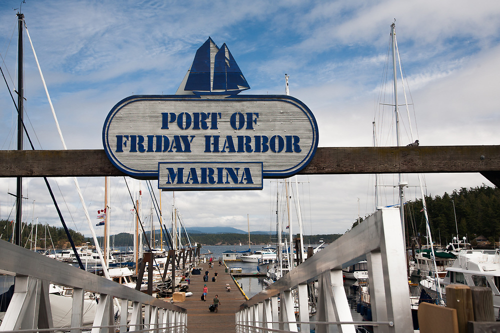 United States, Washington, San Juan Island, Friday Harbor. Entrance to a pier at the Port of Friday Harbor.