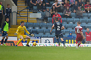 10th August 2019; Dens Park, Dundee, Scotland; SPFL Championship football, Dundee FC versus Ayr; Jack Hamilton of Dundee saves from Alan Forrest of Ayr United