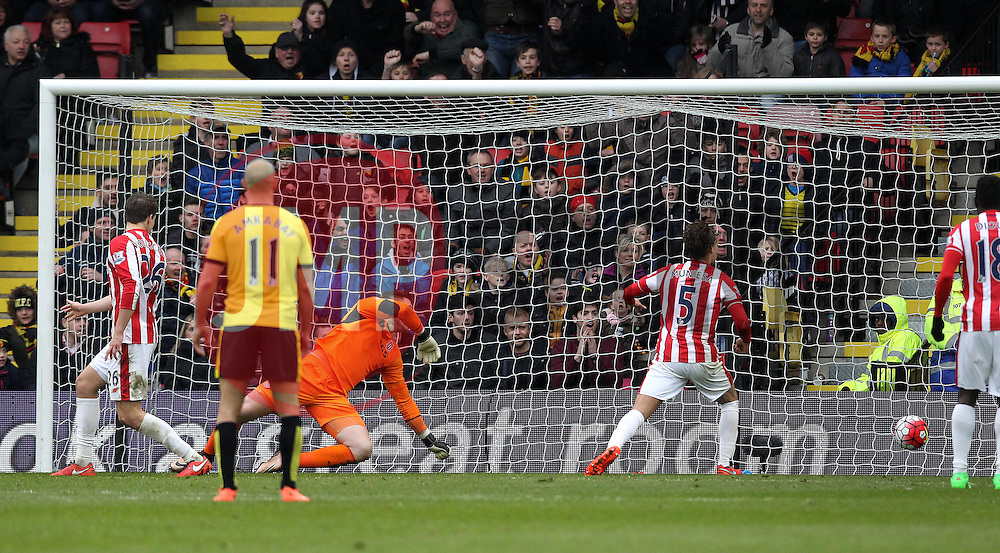 Jack Butland of Stoke City watches as a header from Troy Deeney of Watford goes past him into the goal - Mandatory byline: Robbie Stephenson/JMP - 19/03/2016 - FOOTBALL - Vicarage Road - Watford, England - Crystal Palace v Leicester City - Barclays Premier League
