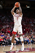 FAYETTEVILLE, AR - MARCH 9:  Adrio Bailey #2 of the Arkansas Razorbacks shoots a jump shot during a game against the Alabama Crimson Tide at Bud Walton Arena on March 9, 2019 in Fayetteville, Arkansas.  The Razorbacks defeated the Crimson Tide 82-70.  (Photo by Wesley Hitt/Getty Images) *** Local Caption *** Adrio Bailey