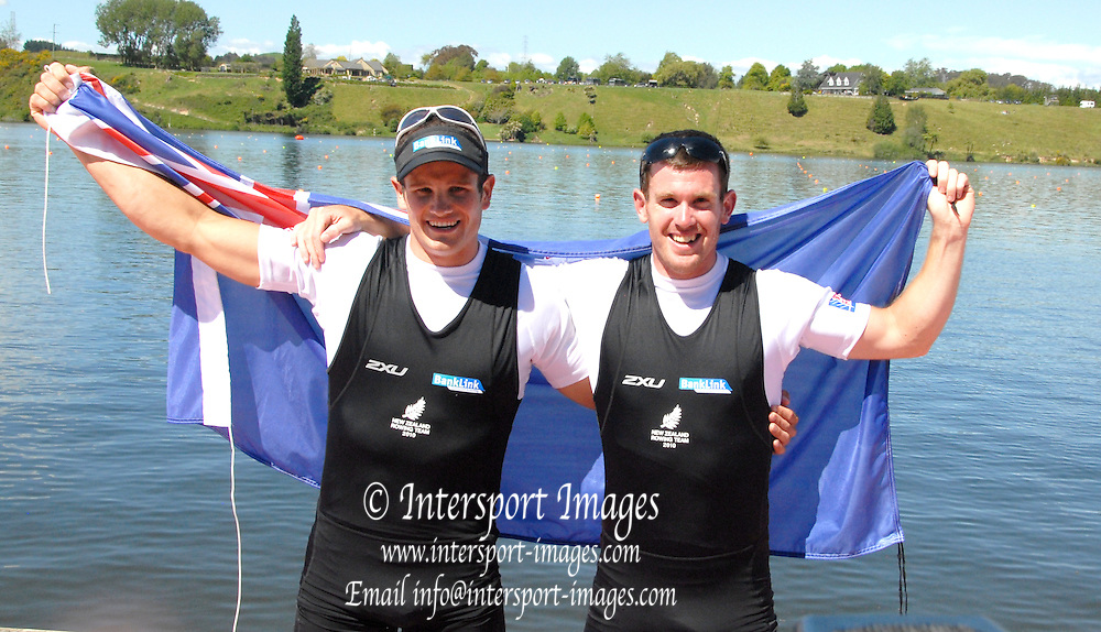 Hamilton, New Zealand, 2010  World Rowing Championships, Lake Karapiro Sunday  07/11/2010 NZL, M2X, Nathan COHEN [left], and Joseph SULLIVAN [right] celebrate, after they have become World Champions [Mandatory Credit Karon Phillips/Intersport Images]