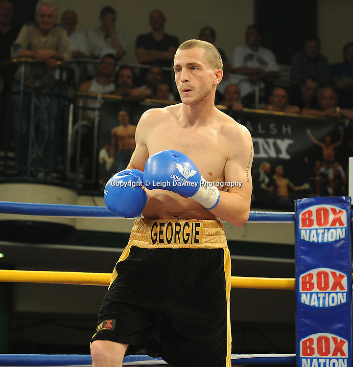 Steve O'Meara defeats Ryan Toms (pictured) for The Southern Area Light-Middleweight Championship at York Hall, Bethnal Green, London on Friday 30th September 2011. Box Nation.tv's debut live TV Channel 456 on Sky. Photo credit: © Leigh Dawney. Queensberry Promotions.