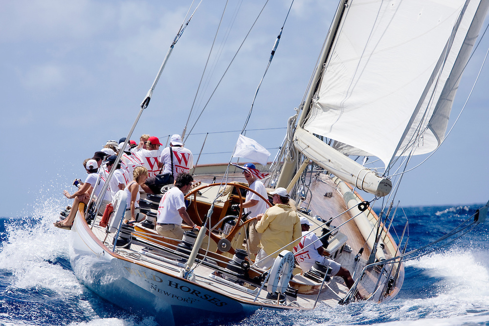 THE SAILING YACHT Wild Horses, a racing yacht competing during the 2008 Antigua Classic Yacht Regatta . This race is one of the worlds most prestigious traditional yacht races. It takes place annually off the coast of Antigua in the British West Indies.