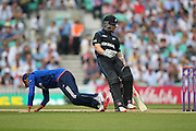 New Zealand Kane Williamson is just in during the Royal London One Day International match between England and New Zealand at the Oval, London, United Kingdom on 12 June 2015. Photo by Phil Duncan.