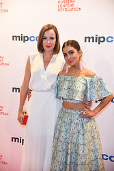 Claire Van Der Boom, Pallavi Sharda arriving for the opening ceremony of the MIPCOM in Cannes - Marche international des contenus audiovisuels du 16-19 Octobre 2017, Palais des Festivals, Cannes, France.<br />