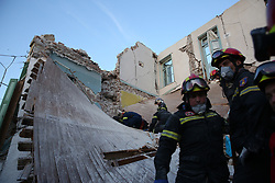 June 12, 2017 - Rescuers search for survivors after an earthquake in Lesvos Island, Greece. At least one person was killed and another 11 were injured when an earthquake measuring 6.1 on the Richter scale hit Greece's Eastern Aegean Sea on Monday, said the Greek authorities. (Credit Image: © Amna/Xinhua via ZUMA Wire)