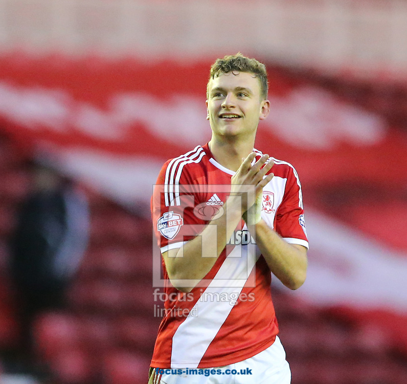 Ben Gibson of Middlesbrough claps the fans at full time during the Sky Bet Championship match at the Riverside Stadium, Middlesbrough<br /> Picture by Simon Moore/Focus Images Ltd 07807 671782<br /> 07/02/2015
