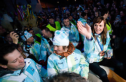Andreja Mali and Slovenian bronze medalist cross-country skier Petra Majdic at reception at her home town Dol pri Ljubljani after she came from Vancouver after Winter Olympic games 2010, on March 1, 2010 in Dol pri Ljubljani, Slovenia. (Photo by Vid Ponikvar / Sportida)