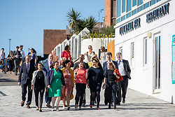 © Licensed to London News Pictures . 17/09/2019. Bournemouth, UK. Lib Dem leader Jo Swinson and members of the party's shadow cabinet and MPs walk along the promenade and the beach in Bournemouth during the final day of the Liberal Democrat Party Conference at the Bournemouth International Centre . Photo credit: Joel Goodman/LNP