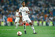 Real Madrid's French defender Raphael Varane runs with the ball during the Spanish championship Liga football match between Real Madrid CF and Leganes on September 1, 2018 at Santiago Bernabeu stadium in Madrid, Spain - Photo Benjamin Cremel / ProSportsImages / DPPI