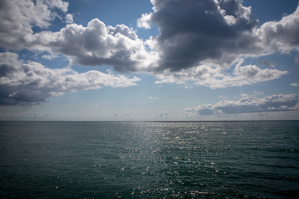 Blue skies, white clouds and Blue sea, the English Channel on a midsummer day from Folkestone, Kent, England, United Kingdom.  (photo by Andrew Aitchison / In pictures via Getty Images)