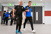 Forest Green Rovers physio Ian Weston and Forest Green Rovers Mark Ellis(5) arrive at the stadium during the Vanarama National League Play Off Final match between Tranmere Rovers and Forest Green Rovers at Wembley Stadium, London, England on 14 May 2017. Photo by Shane Healey.