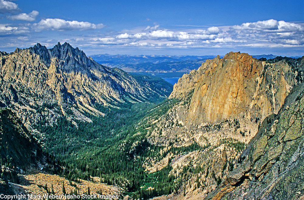 Sawtooth Mountains, The Elephant's Perch on the right and Mount Heyburn on the left in Redfish Creek Canyon high in The Sawtooth Mountains of central Idaho