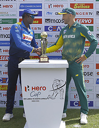 July 29, 2018 - Dambulla, Sri Lanka - Sri Lankan captain Angelo Mathews and South African captain Faf Du Plessis shake hands after  unveiling the trophy during the 1st One Day International cricket match between Sri Lanka and South Africa at Rangiri Dambulla International Stadium, Dambulla, Sri Lanka on Sunday 29 July 2018  (Credit Image: © Tharaka Basnayaka/NurPhoto via ZUMA Press)