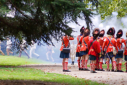 "Scottish ""Bear Hats"", alies of the British open fire at incoming Americans (Bas Slabbers/for NewsWorks)"