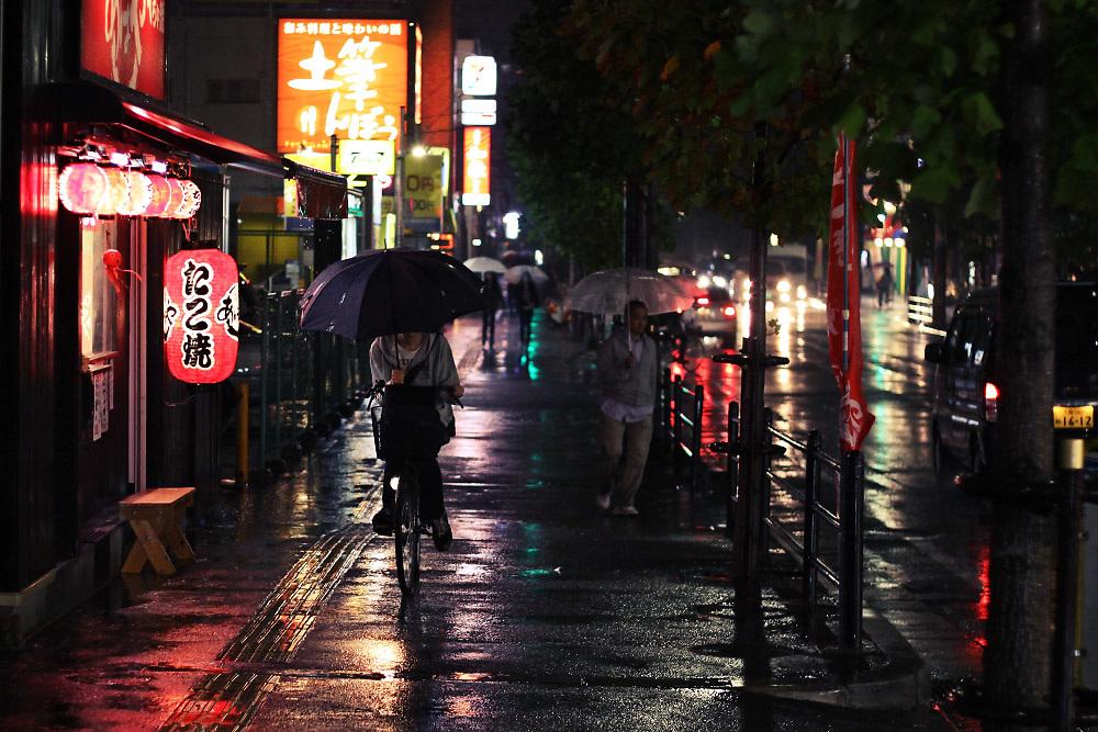 Rainy night street scene in Hirakata City,Osaka