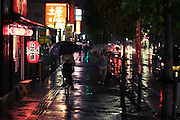Rainy night street scene in Hirakata City,Osaka