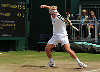 Tennis - 2017 Wimbledon Championships - Week Two, Friday [Day Elevenn]<br /> <br /> Boys Singles, Quarter Final match<br /> <br /> Alejandro Davidovich Fokina (ESP) vs. Yibing Wu  (CHN)<br /> <br /> Alejandro Davidovich Fokina celebrates winning the match on  Court 12<br /> <br /> COLORSPORT/ANDREW COWIE