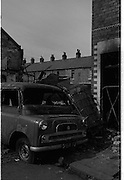 View of Belfast Barricades - Falls Rd,  Clonard, bombay st, nationalists, homes burned, by British loyalists,  <br /> 30/08/1969
