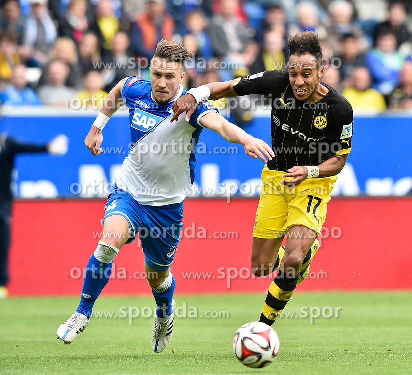 02.05.2015, Rhein Neckar Arena, Sinsheim, GER, 1. FBL, TSG 1899 Hoffenheim vs Borussia Dortmund, 31. Runde, im Bild Zweikampf Aktion Ermin Bicakcic TSG 1899 Hoffenheim (links) gegen Pierre-Emerick Aubameyang BVB Borussia Dortmund (rechts) // during the German Bundesliga 31th round match between TSG 1899 Hoffenheim and Borussia Dortmund at the Rhein Neckar Arena in Sinsheim, Germany on 2015/05/02. EXPA Pictures &copy; 2015, PhotoCredit: EXPA/ Eibner-Pressefoto/ Weber<br /> <br /> *****ATTENTION - OUT of GER*****