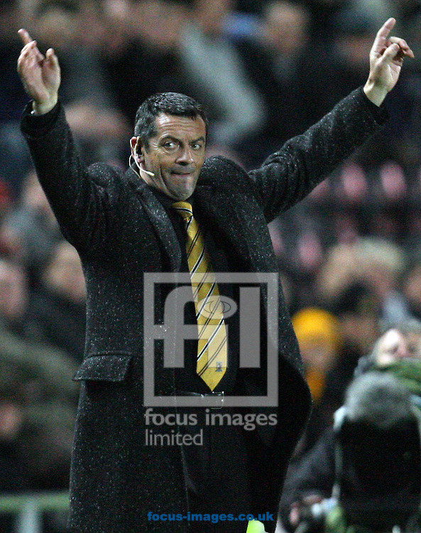Hull - Thursday February 26th, 2009:  Hull City manager Phill Brown after Sheffield United's captain Craig Morgan scores an own goal during the FA Cup fifth round match replay at K.C Stadium, Hull. (Pic by Darren Walker/Focus Images)