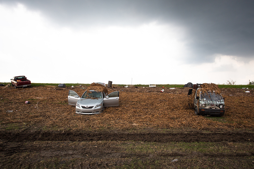 Cars on the levee in Plaquemines Parish after Hurricane Isaac.