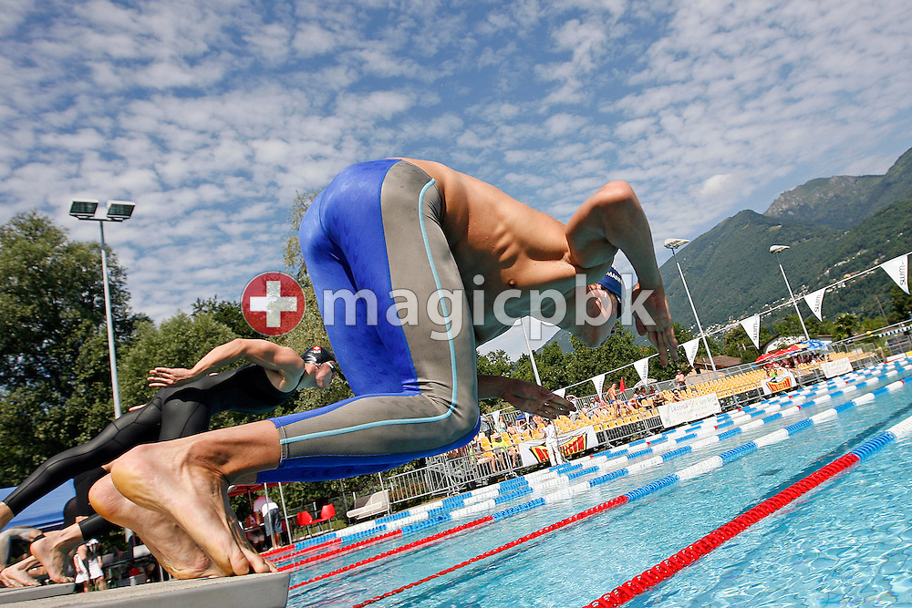 SCUW's Fabian Hofmann of Switzerland starts in the men's 200m breaststroke heats at the Swiss Swimming Summer Championships in Tenero, Switzerland, Sunday, July 5, 2009. (Photo by Patrick B. Kraemer / MAGICPBK)
