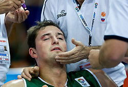 Injured Primoz Brezec during the EuroBasket 2009 Semi-final match between Slovenia and Serbia, on September 19, 2009, in Arena Spodek, Katowice, Poland. Serbia won after overtime 96:92.  (Photo by Vid Ponikvar / Sportida)