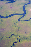 Aerial photograph of rivers and countryside in Vanua Levu, Fiji.