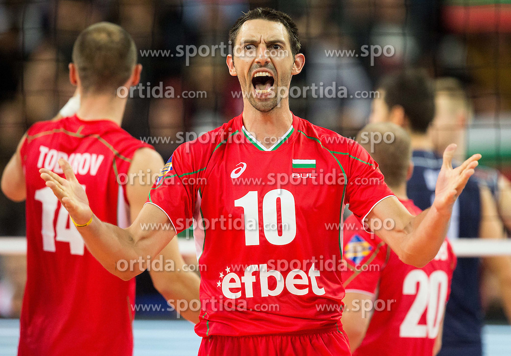 Nikolay Uchikov of Bulgaria reacts during volleyball match between National teams of Bulgaria and Italy at Third place match of 2015 CEV Volleyball European Championship - Men, on October 18, 2015 in Arena Armeec, Sofia, Bulgaria. Photo by Vid Ponikvar / Sportida