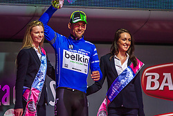 Maarten Tjallingii (NED) in his blue mountain leaders jersey, Belkin-Pro Cycling Team (NED,BEL), Stage 2 Belfast » Belfast, Giro d'Italia, Belfast, Northern Ireland, 10th May 2014, Photo by Thomas van Bracht / www.pelotonphotos.com