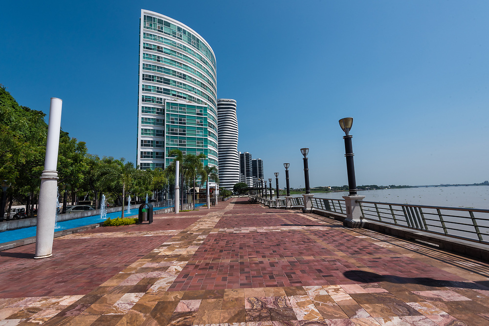 Guayaquil, Ecuador--April 15, 2018.  The Point skyscraper and  luxury hotels are clustered together on the Guayaquil promenade. Editorial use only.