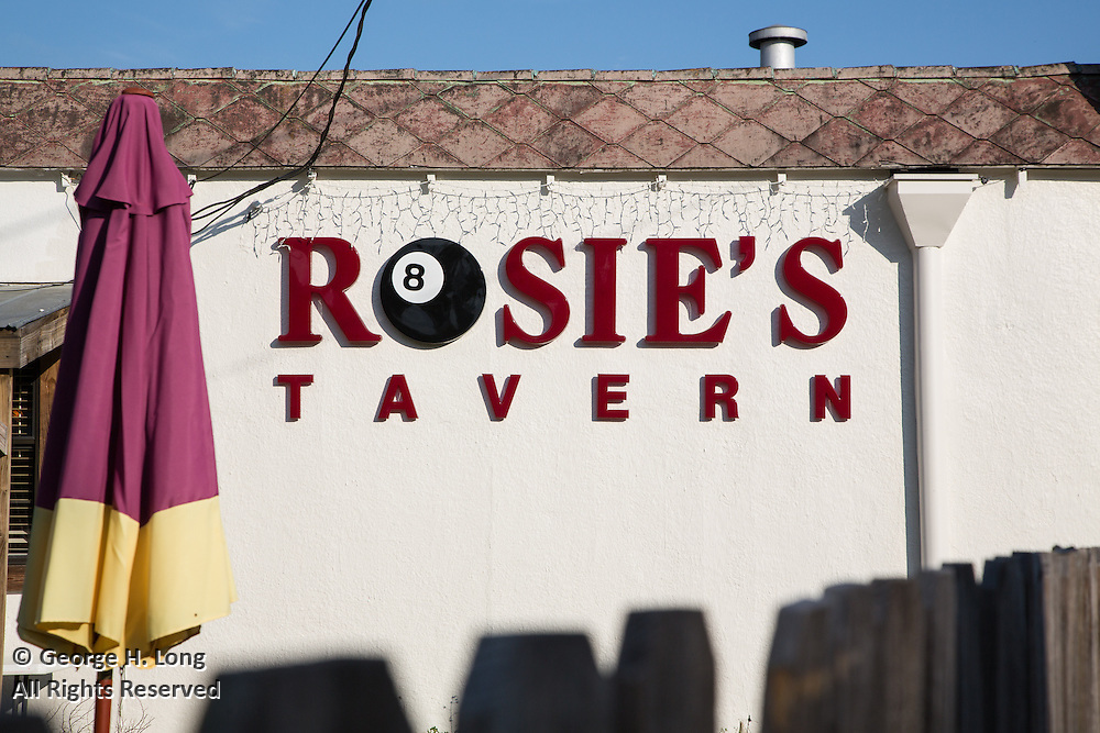 Rosie's Tavern exterior signage with 8 ball