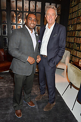 Left to right, JULIUS ROBINSON vice president of Autograph Collection Hotels and JOHN LICENCE Brand Leader for Autograph Collection Hotels at a dinner hosted by Autograph Collection Hotels held at 19 Greek Street, Soho, London on 12th October 2016.