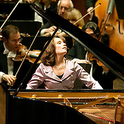 "March 11, 2013 - New York, NY : .The London Philharmonic Orchestra lead by conductor Vladimir Jurowsk (not pictured), with piano soloist Hélène Grimaud (center), performs Ludwig van Beethoven's Piano Concerto No. 4 in G major (1804-07), as part of Lincoln Center's ""Great Performers"" series at Avery Fisher Hall on Monday evening..CREDIT: Karsten Moran for The New York Times"