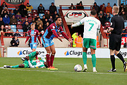 Scunthorpe United defender James Perch (14) ad Plymouth Argyll midfielder Antoni Sarcevic (7) appeal to the referee  during the EFL Sky Bet League 1 match between Scunthorpe United and Plymouth Argyle at Glanford Park, Scunthorpe, England on 27 October 2018. Pic Mick Atkins