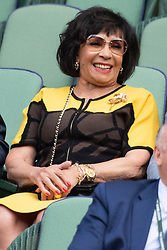 © Licensed to London News Pictures. 12/07/2018. London, UK. Dame Shirley Bassey watches the women's semi-finals round singles draw of the Wimbledon Tennis Championships 2018, at the All England Lawn Tennis and Croquet Club. Photo credit: Ray Tang/LNP