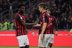 March 2, 2019 - Milan, Milan, Italy - Frank Kessie #79 of AC Milan and Krzysztof Piatek #19 of AC Milan during the serie A match between AC Milan and US Sassuolo at Stadio Giuseppe Meazza on March 02, 2019 in Milan, Italy. (Credit Image: © Giuseppe Cottini/NurPhoto via ZUMA Press)