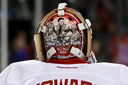 Nov 17, 2011; San Jose, CA, USA; Detroit Red Wings goalie Jimmy Howard (35) warms up before the game against the San Jose Sharks at HP Pavilion. San Jose defeated Detroit 5-2. Mandatory Credit: Jason O. Watson-US PRESSWIRE